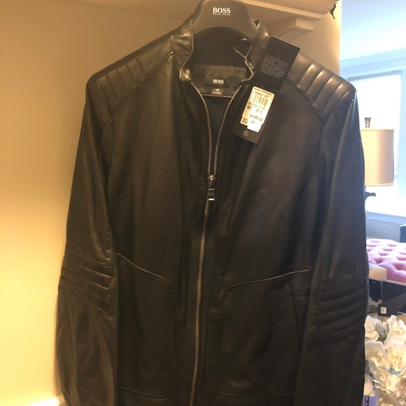f8fc05b1c Hugo Boss Men's Leather Biker Jacket NWT
